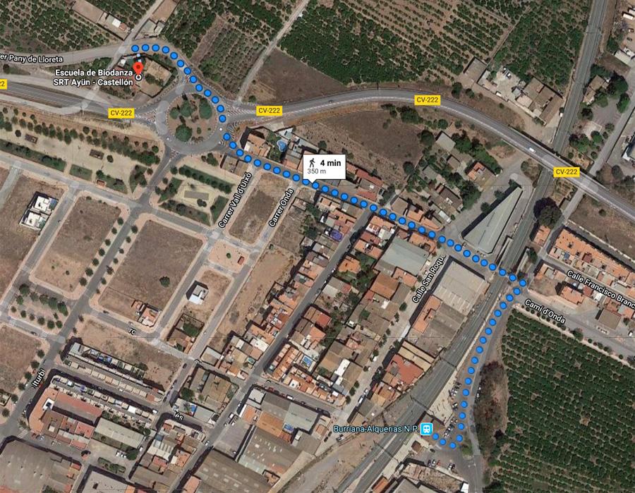 Mapa como llegar desde el tren