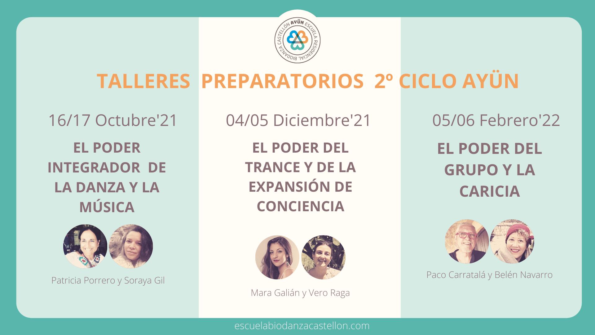 Lee más sobre el artículo Talleres preparatorios Segunda Promoción Escuela Biodanza Ayün – Castellón